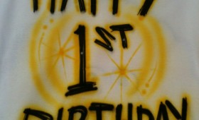AIR BRUSH YOUR KIDS BIRTHDAY SHIRT! GREAT 1st BIRTHDAY IDEA!